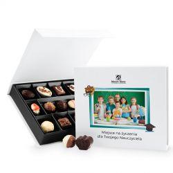 Czekoladki dla nauczycieli Box White Medium z Twoim zdjęciem i życzeniami