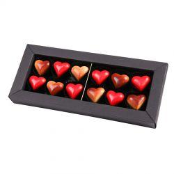 Czekoladki na Walentynki dla chłopaka Elegance Black no.4 z serduszkami