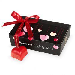 Czekoladowy prezent na Walentynki Mini Ballotin Black no.3 z Twoimi życzeniami