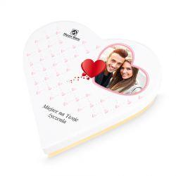 Prezent dla zakochanych Sweet Heart White Mini z Twoimi życzeniami i zdjęciem