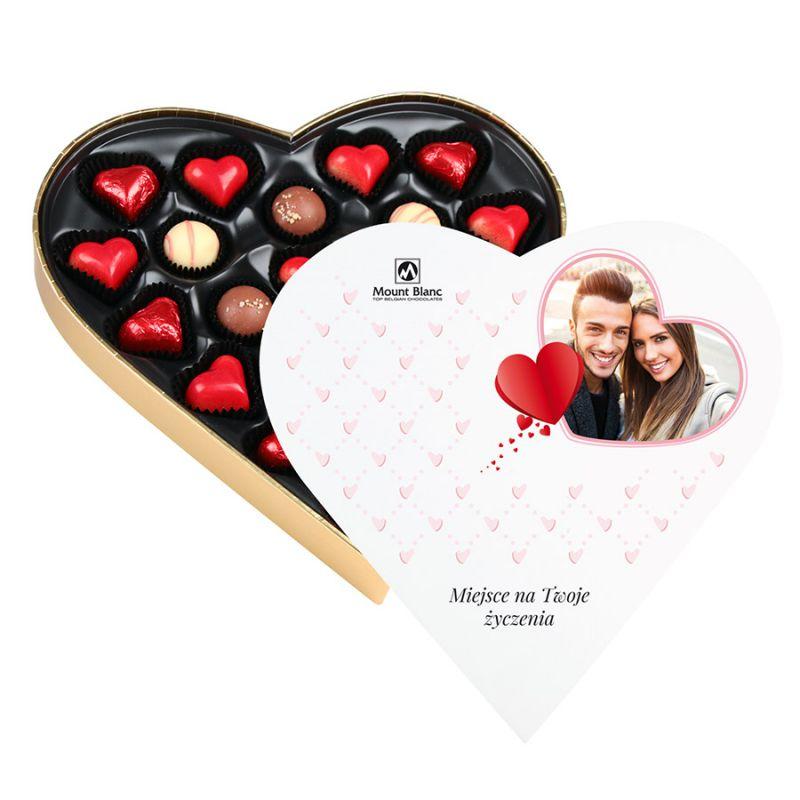 Czekoladki dla zakochanych Sweet Heart White Maxi z Twoim zdjęciem i życzeniami