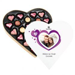 Praliny dla zakochanych Sweet Heart White Maxi z Twoimi życzeniami i zdjęciem