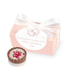 Podziękowania dla gości na chrzciny Mini Ballotin Pink no.1 z Twoim tekstem
