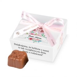 Czekoladki podziękowania dla gości chrzciny Mini Ballotin White no.2 z Twoim tekstem