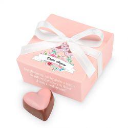Czekoladki dla gości na chrzciny Mini Ballotin Pink no.2 z Twoim tekstem
