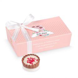 Czekoladki dla gości na chrzciny Mini Ballotin Pink no.3 z Twoim tekstem