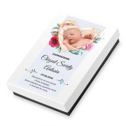Czekoladowe zaproszenie na chrzest Premium Mini ze zdjęciem i tekstem