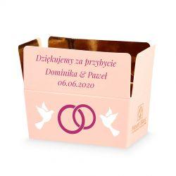 Podziękowania dla gości weselnych Mini Ballotin Pink no.1 z Twoim tekstem