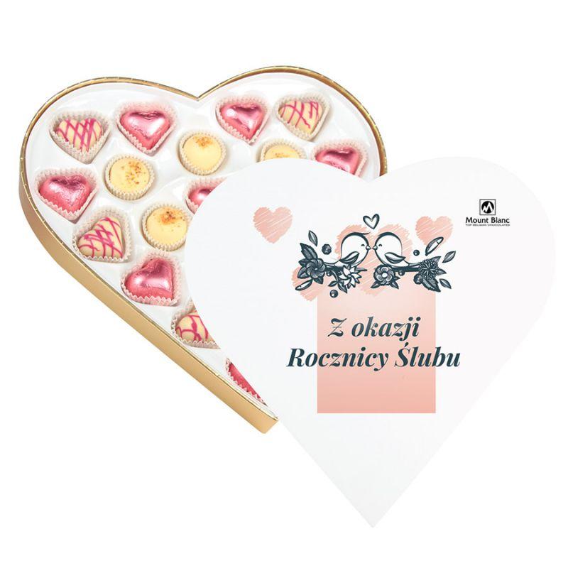 Czekoladki serduszka Sweet Heart White Maxi z okazji rocznicy ślubu