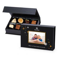 Praliny na Boże Narodzienie Chocolate Box Mini Black z Twoim zdjęciem i życzeniami