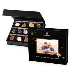 Czekoladki pod Choinkę Chocolate Box Medium Black z Twoim zdjęciem i życzeniami