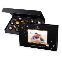 Bombonierka świąteczna Chocolate Box Black z Twoim zdjęciem i życzeniami
