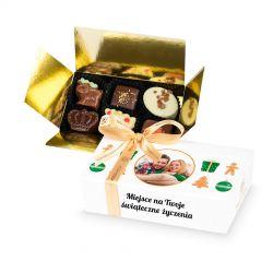 Czekoladowy prezent na gwiazdkę Mini Ballotin White no.3 z Twoim zdjęciem i życzeniami