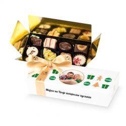 Czekoladki świąteczne Mini Ballotin White no.4 z Twoim zdjęciem i życzeniami