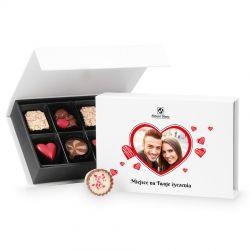 Czekoladowa walentynka Chocolate Box Mini White z Twoim zdjęciem i życzeniami