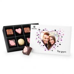 Czekoladowy prezent na walentynki Premium White Mini z Twoim zdjęciem i życzeniami