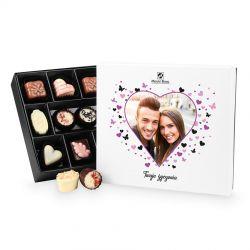 Czekoladowy upominek dla zakochanych Premium White z Twoim zdjęciem i życzeniami
