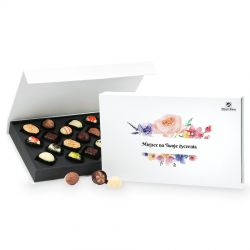 Upominek dla kobiety Chocolate Box White z Twoimi życzeniami