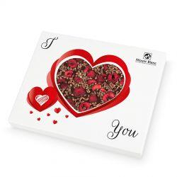 Chocolate Heart Box no.3 dla zakochanych. Czekoladowe serce z deserowej czekolady z prażonym ziarnem kakaowca i wiśniami