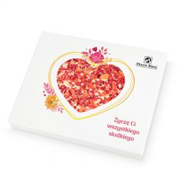 Chocolate Heart Box no.1 na Dzień Kobiet. Czekoladowe serce z bialej czekolady z truskawkami i malinami