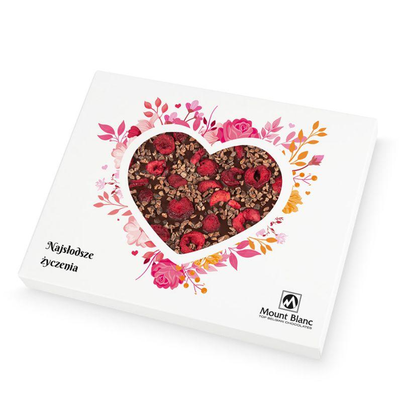 Chocolate Heart Box no.3. Czekoladowe serce z deserowej czekolady z prażonym ziarnem kakaowca i wiśniami dla kobiety