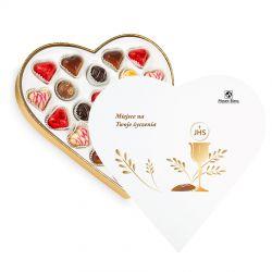 Czekoladki na Pierwszą Komunię Świętą Sweet Heart White Maxi z Twoimi życzeniami