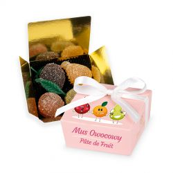 Mini Ballotin Pink no.2 z pâte de fruit, upominek dla dzieci