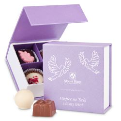 Bombonierka Finesse Lavender no.1 z życzeniami. Prezent dla Pary Młodej