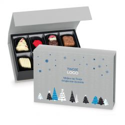 Bombonierka na Święta Chocolate Box Mini Silver z Twoim logo i życzeniami