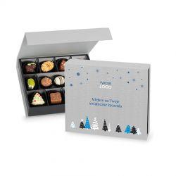 Czekoladki pod Choinkę Chocolate Box Medium Silver z Twoim logo i życzeniami