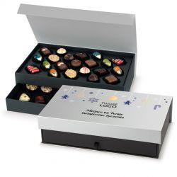 Czekoladowy prezent gwiazdkowy Chocolate Tower Silver z Twoim logo i życzeniami